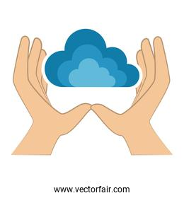 hands human with cloud