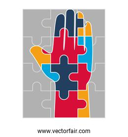 hand human with puzzle game pieces isolated icon