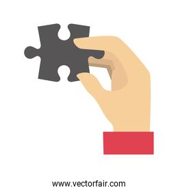hand human with puzzle game piece isolated icon