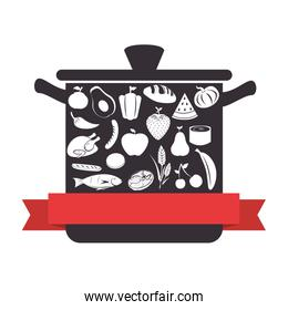 kitchen pot utensil with healthy food icon