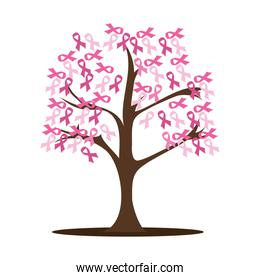 tree with breast cancer ribbon pink