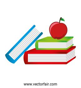 book with apple school isolated icon
