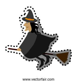 witch flying halloween card