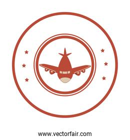 airplane stamp isolated icon