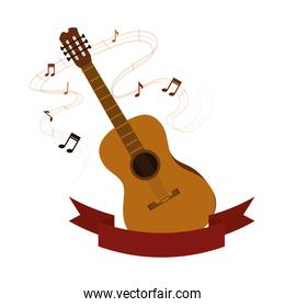 acoustic guitar with musical notes
