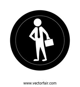 monochrome round frame with pictogram business man