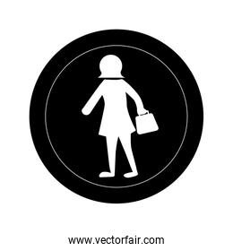 monochrome round frame with pictogram of woman