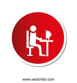 color round frame with pictogram man with computer