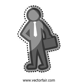 grayscale sticker with pictogram business man