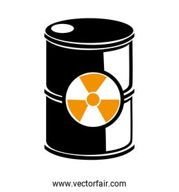 silhouette barrels with radioactive materials