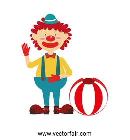 colorful silhouette with clown with colored ball