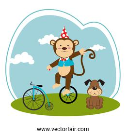 color landscape with dog and monkey in unicycle
