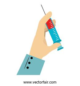 colorful silhouette of hand with needle syringe