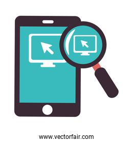 color silhouette with tablet and magnifying glass
