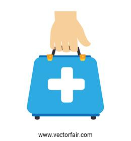 colorful silhouette with hand holding first aid box