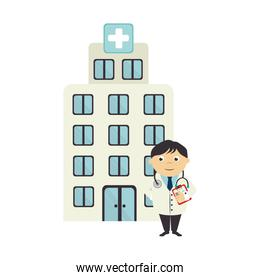 colorful silhouette with hospital and doctor