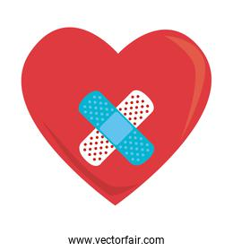 colorful silhouette with heart with crossed band aid