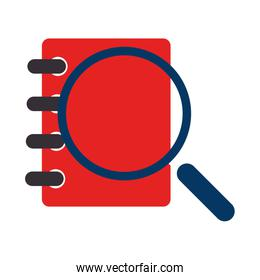 notebook spiral with magnifying glass