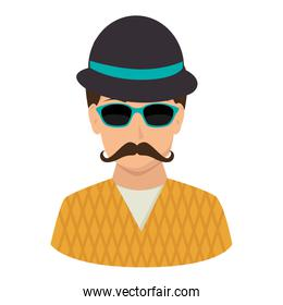 half body man with mustache and hat and sunglasses