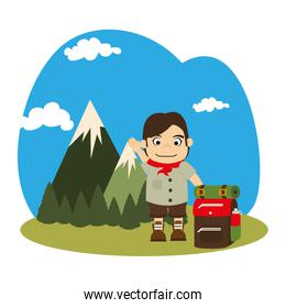 landscape with mountains and boy scout with equipment