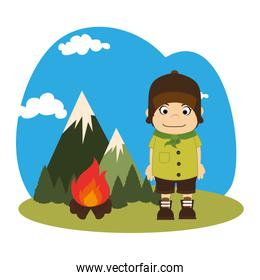 landscape with mountains and boy scout with wood fire