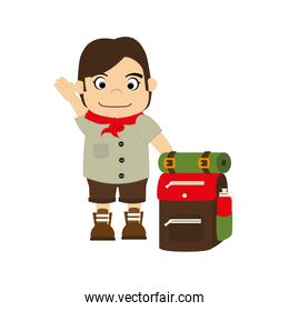 colorful silhouette with boy scout with equipment