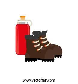 camping boots with drink bottle