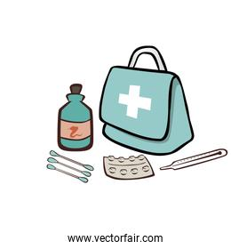first aid box with pills and thermometer