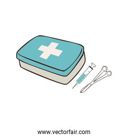 first aid box with syringe and scissors