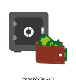 safe-deposit box and wallet with money