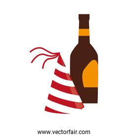 color silhouette with bottle and party hat