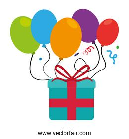 colorful picture gift box and balloons with confetti