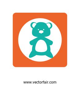 square shape with silhouette teddy bear