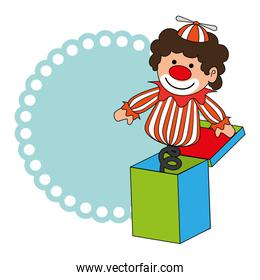 colorful border wit clown in cube toy