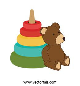colorful set pyramid toy with teddy bear