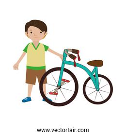 colorful set with boy and bicycle