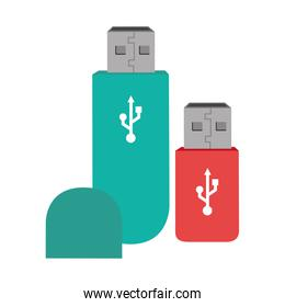 color silhouette with usb stick