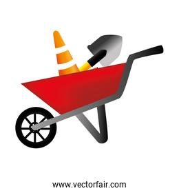colorful silhouette with wheelbarrow and shovel and traffic cone
