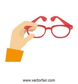silhouette color with hand and glasses