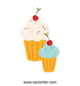 silhouette color cupcake with cream and cherry
