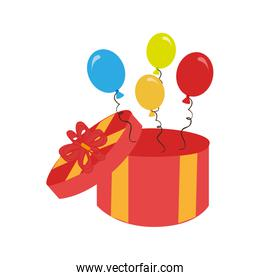 box gift with balloons birthday