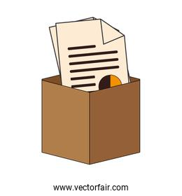 colorful carton box with documents