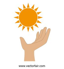 color silhouette with sun and hand