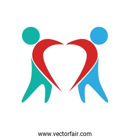 pictogram forming heart with arms