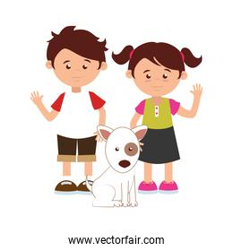 colorful silhouette with kids and dog
