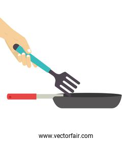 colorful set frying pan with fork