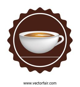 stamp with realistic cup coffee
