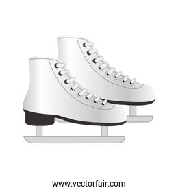 colorful silhouette ice skates elements sport