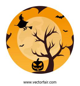 circular landscape of tree and witch in halloween night
