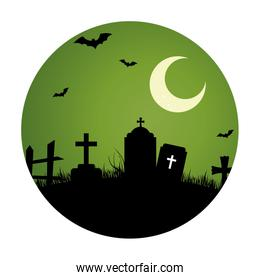circular landscape of cemetery in halloween night with moon